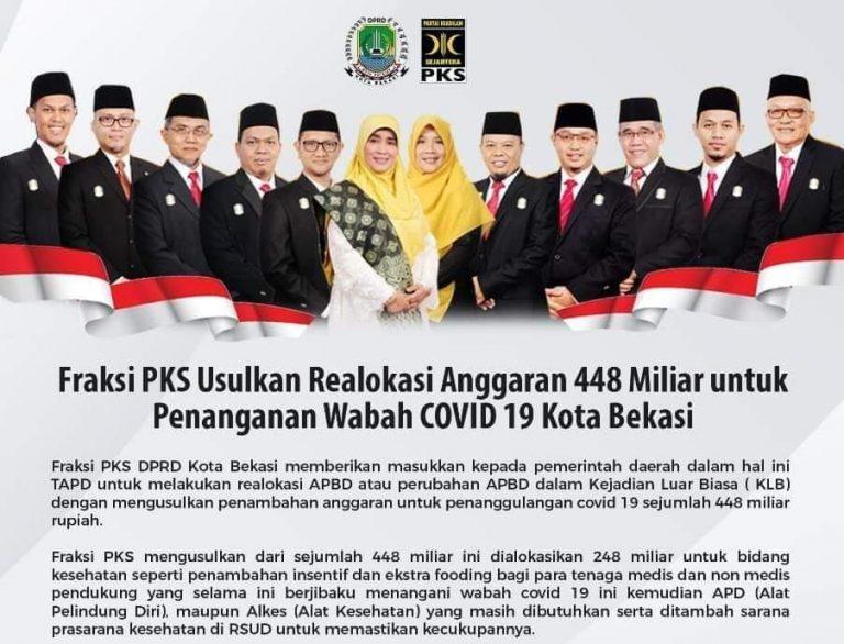 Fraksi PKS DPRD Kota Bekasi Usulkan Relokasi Anggaran Rp 448 Miliar untuk Penanganan Wabah COVID 19