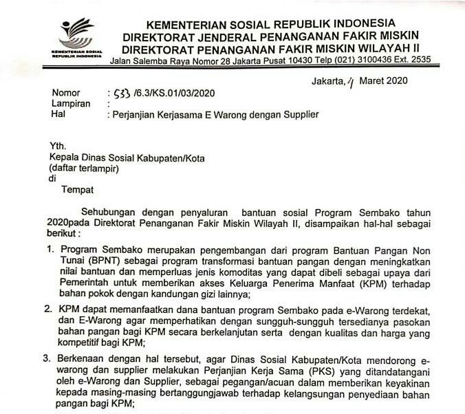 Soal E-Warong Mandiri Program Sembako, LSM ingatkan Dinsos Patuhi Edaran Kemensos