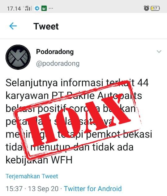 Beredar Kabar 44 Karyawan PT. Bakrie Autopart Postif Corona, Pemkot Bekasi : Hoax